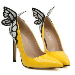 Escarpins Base Luxuriante Nœud Papillon et Bout Pointu Design poru Femmes - Jaune