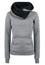 Casual Style Loose-Fitting Solid Color Long Sleeve Women's Hoodie - GRAY S