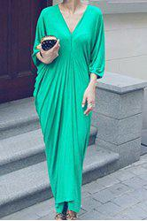 Casual Plunging Neck Batwing Sleeve Ruffled Maxi Dress