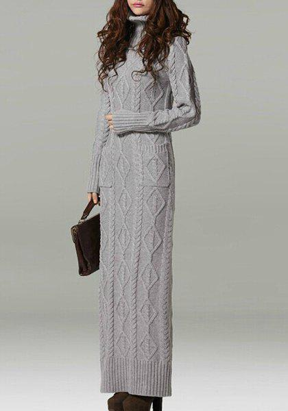 Fashion Fashionable Turtleneck Long Sleeve Solid Color Knitted Dress For Women