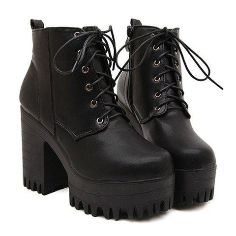 Store Fashionable Lace-Up and Black Design Women's Short Boots