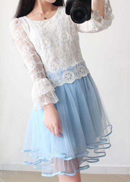 Chic Vintage Scoop Neck Flare Sleeves Lace Splicing Dress For Women