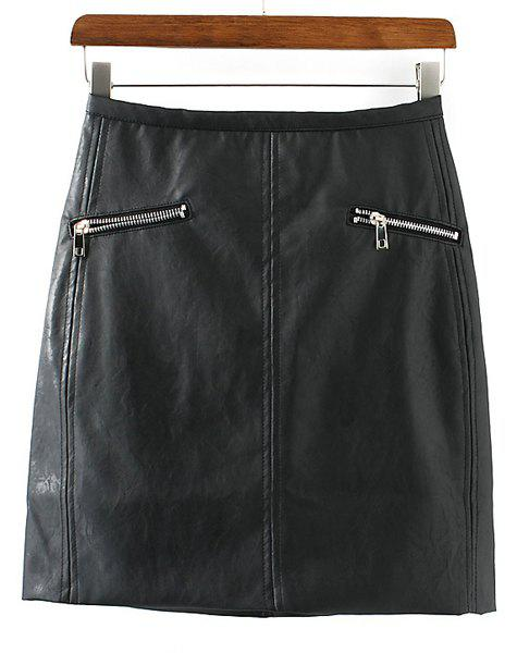 Chic PU Leather Packet Buttock Zippers Embellished Women's Skirt