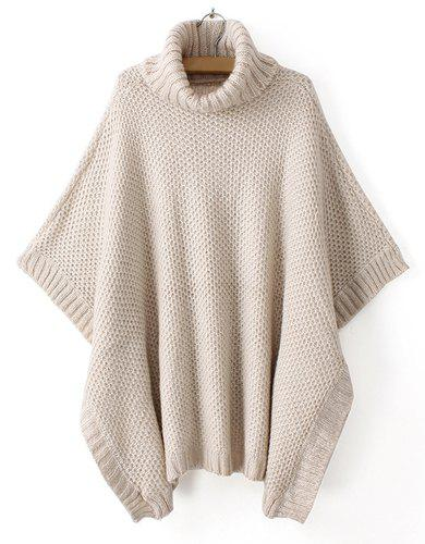 Outfits Casual Style Turtle Neck Solid Color Batwing Sleeve Women's Sweater