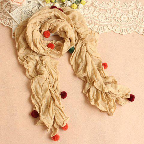 Trendy Gorgeous Wool Ball Decoration Pleated Scarf For Women