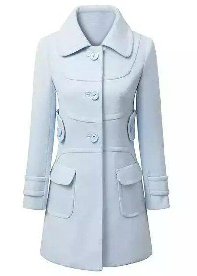 Cheap Elegant Style Turn-Down Collar Long Sleeve Solid Color Slimming Women's Coat
