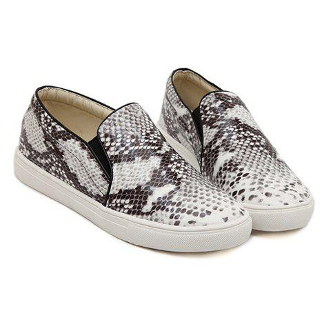 Unique Trendy Snake Print and Round Toe Design Women's Flat Shoes
