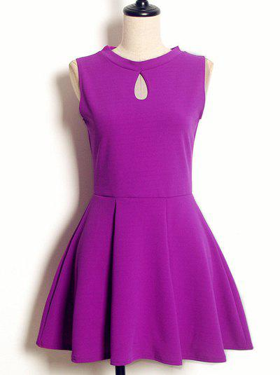 Online Vintage Keyhole Neck Sleeveless Solid Color Pleated Dress For Women