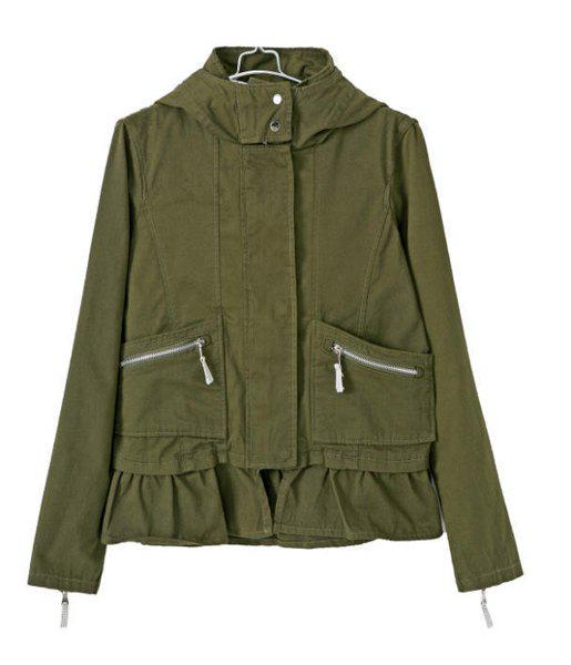 Trendy Casual Style Hooded Long Sleeve Solid Color Ruffles Splicing Women's Coat