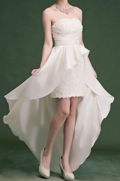 Fancy Vintage Strapless Solid Color Rose Asymmetric Prom Dress For Women