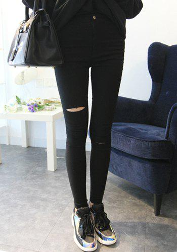 Discount Casual Style Solid Color Broken Hole Slimming Women's Pencil Pants