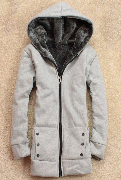 Hot Stylish Long Sleeves Solid Color Flocking Hooded Hoodie For Women