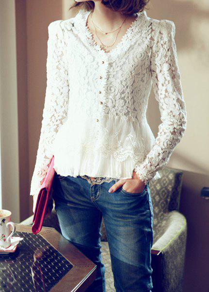 Fashion Elegant Long Sleeves Shoulder Pads Solid Color Hollow Out Lace Cardigan For Women(Without Tank Top)