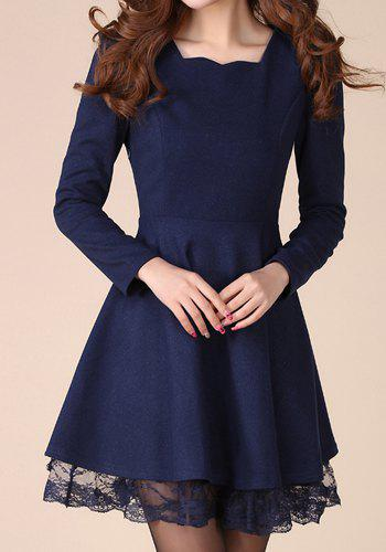 Outfit Stylish Sweetheart Neck Lacework Splicing Slimming Long Sleeve Women's Dress