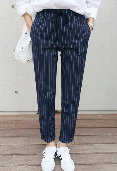 Fashion Stylish Waist Drawstring Striped Loose-Fitting Rolled-Up Women's Ankle Pants