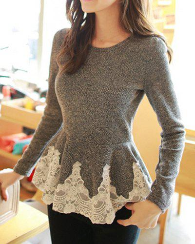 Cheap Stylish Jewel Neck Lacework Splicing Long Sleeve Women's T-Shirt