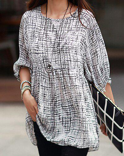 New Casual Scoop Neck 3/4 Length Sleeves Printed Dress For Women