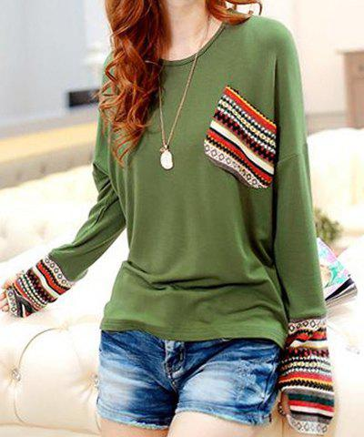 Shops Casual Scoop Neck Long Sleeves Striped Splicing T-Shirt For Women