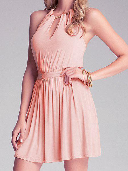 Store Backless Mini Halter Cut Out Skater Dress