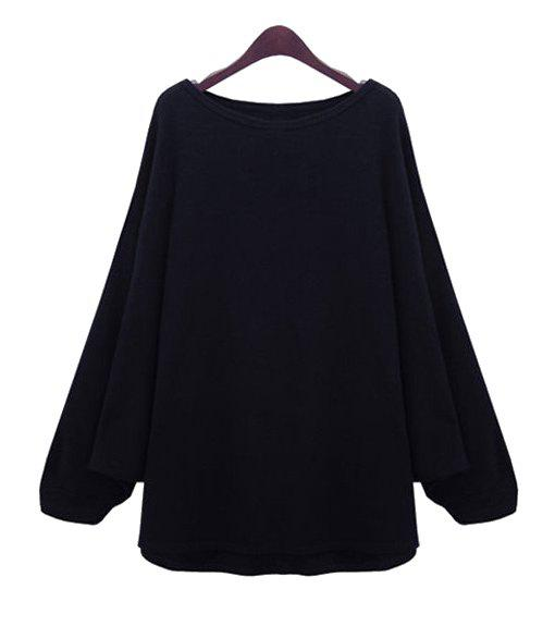 New Stylish Scoop Neck Long Batwing Sleeve Solid Color Loose-Fitting Women's Knitwear