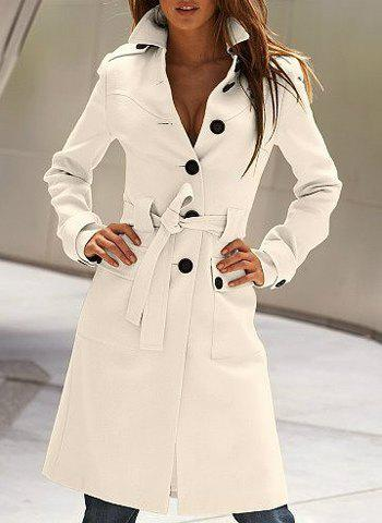 Buy Stylish Flat Collar Long Sleeve Solid Color Coat For Women