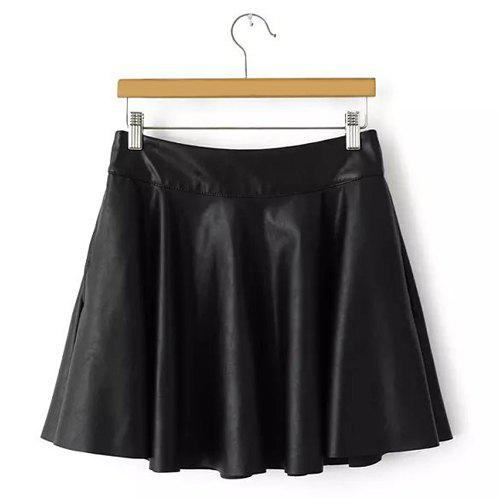 Cheap Sweet Black Zipper Fly PU Leather Pleated Skirt For Women