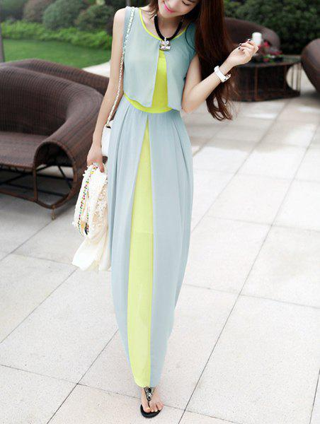 Sleeveless Scoop Neck High Waistline Stitching Cape-style Ladylike Womens DressWOMEN<br><br>Size: L; Color: LIGHT GREEN; Style: Casual; Material: Polyester; Silhouette: Pleated; Dresses Length: Ankle-Length; Neckline: Round Collar; Sleeve Length: Sleeveless; Waist: Empire; Embellishment: Spliced; Pattern Type: Patchwork; Season: Summer; Weight: 0.5000kg; Package Contents: 1 x Dress;