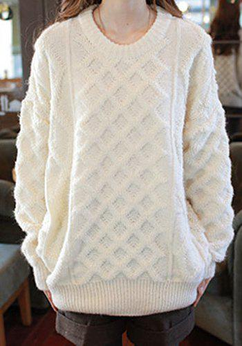 Casual Jewel Neck Solid Color Loose-Fitting Long Sleeve Women's Sweater