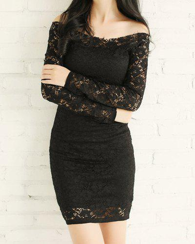 Lace Long Sleeve Off The Shoulder Short Bodycon Dress