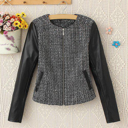 Fashion Stylish Round Collar Long Sleeve Faux Leather Splicing Women's Jacket