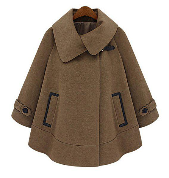 Shops Fashionable Turn-Down Collar Solid Color Long Sleeve Worsted Dolman Coat For Women
