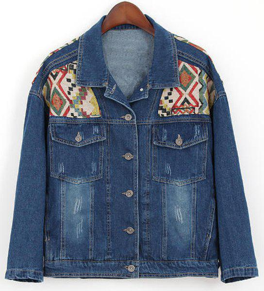 Sale Fashionable Turn-Down Collar Geometric Embroidery Frayed Denim Women's Jacket