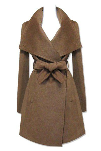 Chic Fashionable Turn-Down Collar Long Sleeve Solid Color Coat For Women