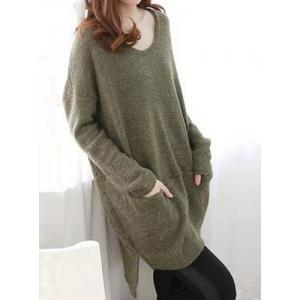 Scoop Neck High Low Sweater With Pockets -