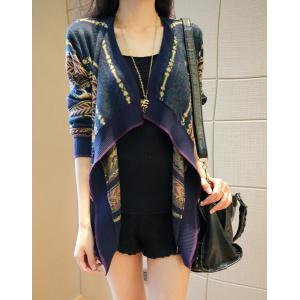 Stylish Turn-Down Collar Long Sleeve Pattern-Knit Cardigan For Women - Colormix - One Size(fit Size Xs To M)