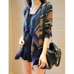 Stylish Turn-Down Collar Long Sleeve Pattern-Knit Cardigan For Women -