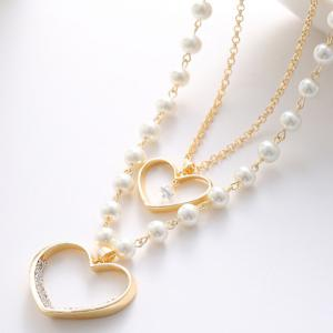 Delicate Women's Pearl Heart Pendant Layered Sweater Chain Necklace -