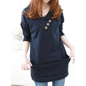 Stylish Hooded Long Sleeve Button Design Solid Color Women's Hoodie
