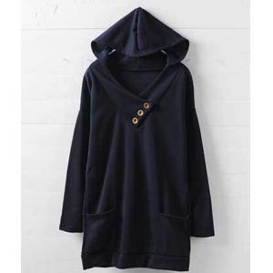 Stylish Hooded Long Sleeve Button Design Solid Color Women's Hoodie - BLUE M