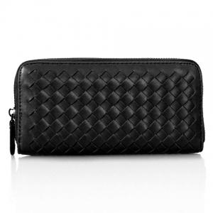 Concise Zip and Weaving Design Women's Clutch Wallet - Black