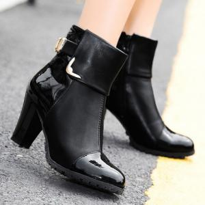 Elegant Patent Leather and Metallic Design Women's Ankle Boots - BLACK 39