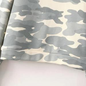 Gray L Simple Round Neck Camo Thicken Long Sleeve