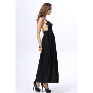 Elegant Style Spaghetti Straps Plunging Neck Solid Color Backless Women's Dress - BLACK S