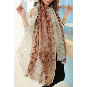 Exquisite Printed Color Splicing Voile Scarf For Women -