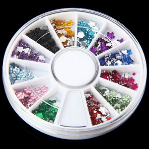 Mix Colors Plastic Flower Glitter Nail Sticker with Small Round Turning Case for Nail Art