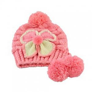 Warm Fuzzy Ball Four-Leaf Clover Pattern Design Women's Knitted Hemp Flowers Hat -