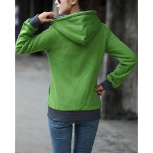 Stylish Long Sleeve Color Block Hoodie For Women -
