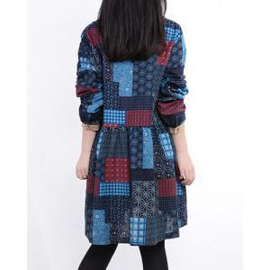 Casual V-Neck Long Sleeve Spliced Printed Women's Dress - RED L