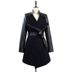 Stylish Stand-Up Collar Long Sleeve Zippered Spliced Women's Coat -