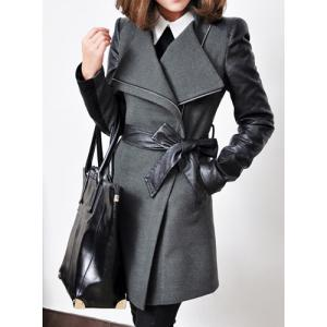 Stylish Stand-Up Collar Long Sleeve Zippered Spliced Women's Coat